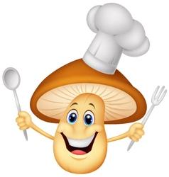 cartoon mushroom chef vector image vector image