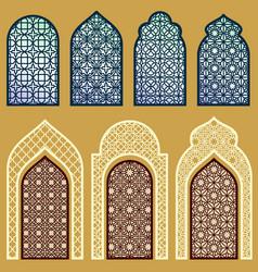 Islamic windows and doors with arabian art vector