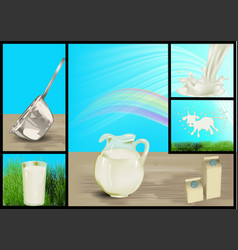 set of milk vector image vector image