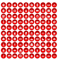100 building icons set red vector