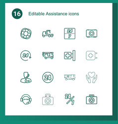 16 assistance icons vector