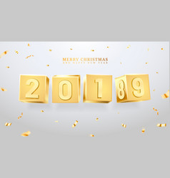 2019 happy new year and merry christmas or x-mas vector
