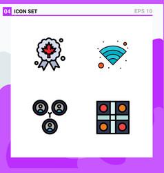 4 universal filledline flat color signs symbols vector