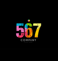 567 number grunge color rainbow numeral digit logo vector image