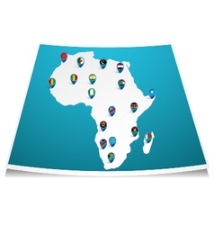 African map with flag pin vector image