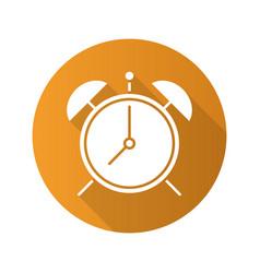 Alarm clock flat design long shadow glyph icon vector