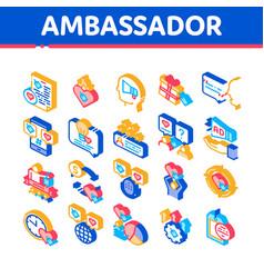 Ambassador creative isometric icons set vector