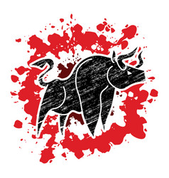 angry bull graphic vector image