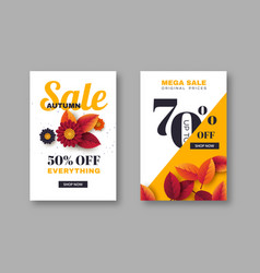 autumn sale banners with 3d leaves and flowers vector image