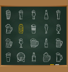 beer mug chalk draw line icons set vector image