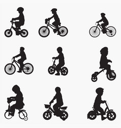 bicyclist child silhouettes vector image