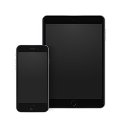 black mobile phone and tablet templates with vector image