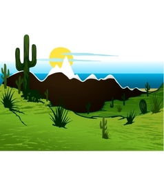 Cactus saguaro mountains and river vector image