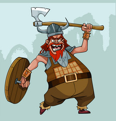 cartoon viking with a wooden shield swings his ax vector image
