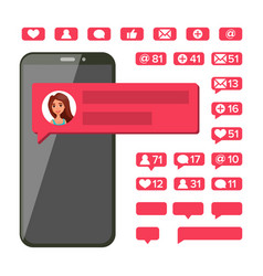 chat notification mobile phone screen new vector image