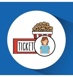 Cheerful girl cinema icon pop corn ticket design vector