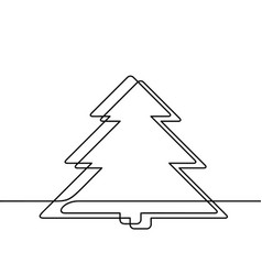 continuous line drawing christmas tree black vector image