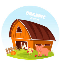 Cow at barn and pig at farm yard vector
