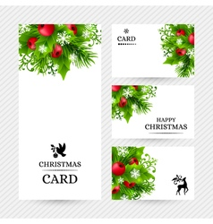 Cristmas holly fir banners 26 vector image