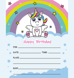 Cute unicorn sitting on a cloud vector