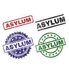 Damaged textured asylum seal stamps vector