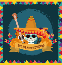 day dead sugar skull with hat guitar vector image