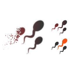 Disintegrating pixel halftone sperm icon vector