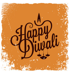 Diwali vintage lettering logo background vector