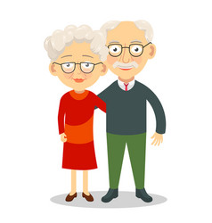 Elderly couple standing and hugging grandparents vector