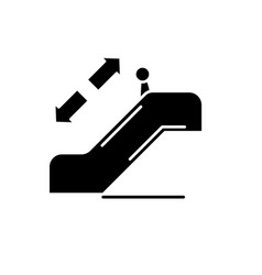 escalator black icon sign on isolated vector image