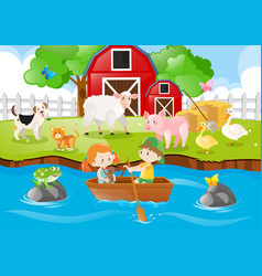 Farm scene kids rowing boat in river vector