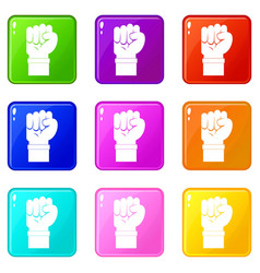 Fist icons 9 set vector