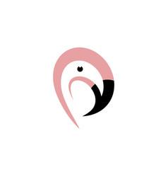 flamingo bird head logo icon design vector image
