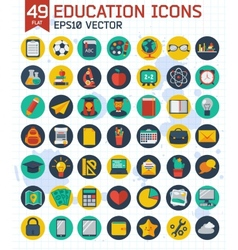 Flat education and business icons set vector