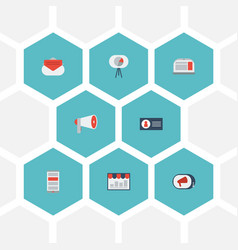 Flat icons megaphone laptop application and vector