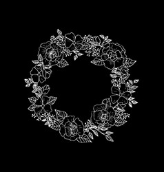 forest flowers and leaves wreath vector image