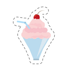 Fresh milk shake strawberry cherry straw cut line vector