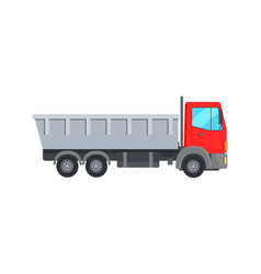 Garbage collector truck with red cabin icon vector