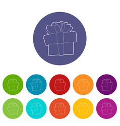 gift box icons set color vector image