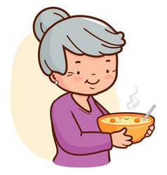 Grandma holding a bowl soup vector