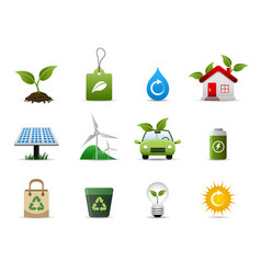 green environment icon a group of symbolic icon vector image