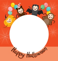 Halloween Cartoon Character On Circle Frame vector image