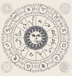 Hand-drawn banner with sun and circle zodiac signs vector