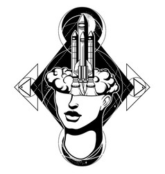 Hand drawn of female head with rocket surreal vector