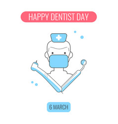 Happy dentist day concept vector