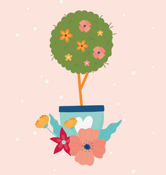 happy spring tree flowers in pot floral decoration vector image