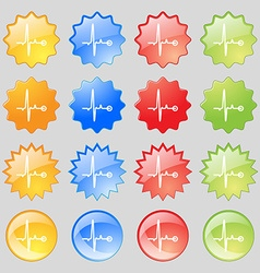 Heartbeat icon sign Big set of 16 colorful modern vector image