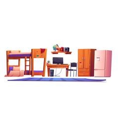 Hostel or student dormitory room interior stuff vector