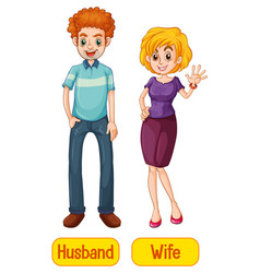 Husband and wife words with cartoon characters vector