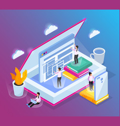 isometric cloud library background vector image